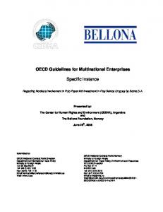 OECD Guidelines for Multinational Enterprises. Specific Instance