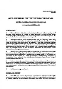OECD GUIDELINES FOR THE TESTING OF CHEMICALS