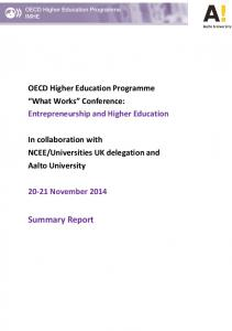 OECD Higher Education Programme What Works Conference: Entrepreneurship and Higher Education