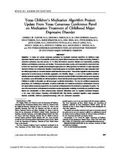 OF CHILDHOOD MAJOR DEPRESSIVE DISORDER