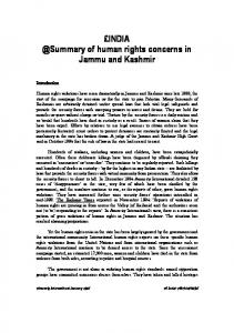 of human rights concerns in Jammu and Kashmir