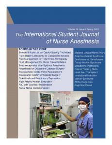 of Nurse Anesthesia The International Student Journal