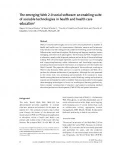 of sociable technologies in health and health care education 1