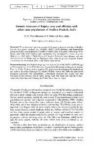 of Statistics, Andhra University, Visakhapatnam, and Department of the of Andhra Pradesh, India. The genetic relationships