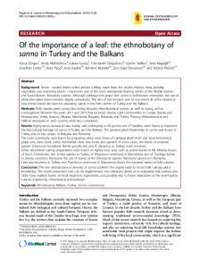Of the importance of a leaf: the ethnobotany of sarma in Turkey and the Balkans