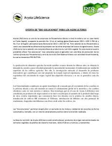 OFERTA DE BIO-SOLUCIONES PARA LOS AGRICULTORES