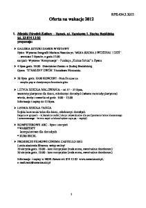 Oferta na wakacje 2012