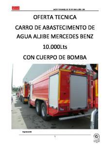 OFERTA TECNICA CARRO DE ABASTECIMENTO DE AGUA ALJIBE MERCEDES BENZ Lts CON CUERPO DE BOMBA