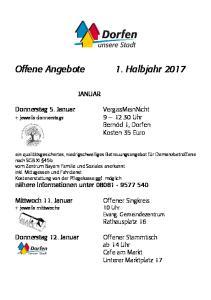 Offene Angebote 1. Halbjahr 2017