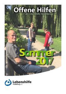 Offene Hilfen. der Lebenshilfe Heidelberg e.v. Sommer