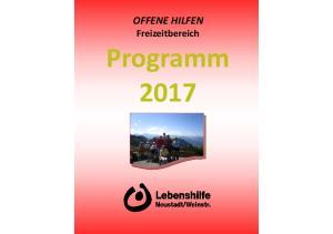 OFFENE HILFEN Freizeitbereich. Programm 2017