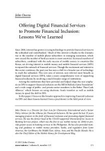Offering Digital Financial Services to Promote Financial Inclusion: Lessons We ve Learned