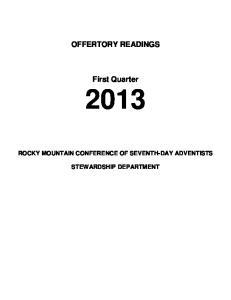 OFFERTORY READINGS. First Quarter 2013