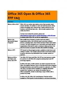 Office 365 Open & Office 365 FPP FAQ