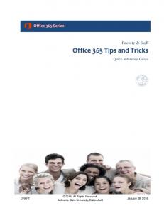Office 365 Tips and Tricks