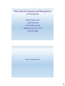 Office Based Evaluation and Management of Concussion