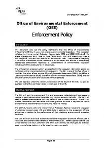 Office of Environmental Enforcement (OEE) Enforcement Policy