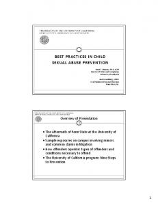 Office of Ethics, Compliance and Audit Services BEST PRACTICES IN CHILD SEXUAL ABUSE PREVENTION