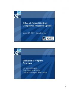 Office of Federal Contract Compliance Programs Update