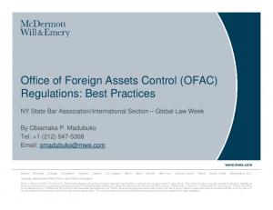 Office of Foreign Assets Control (OFAC) Regulations: Best Practices
