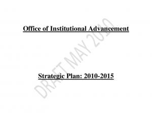 Office of Institutional Advancement. Strategic Plan: