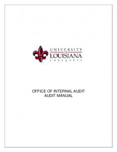 OFFICE OF INTERNAL AUDIT AUDIT MANUAL