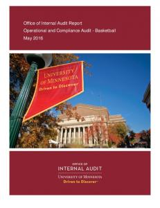 Office of Internal Audit Report Operational and Compliance Audit - Basketball May 2016