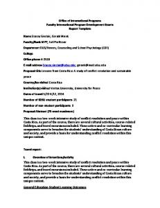 Office of International Programs Faculty International Program Development Grants Report Template