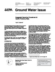 Office of Research and Development. Ground Water Issue. Suggested Operating Procedures for Aquifer Pumping Tests