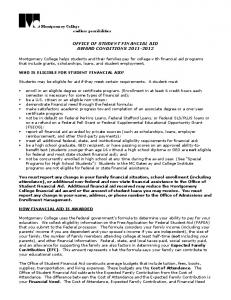 OFFICE OF STUDENT FINANCIAL AID AWARD CONDITIONS