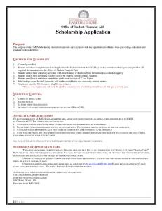 Office of Student Financial Aid Scholarship Application