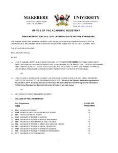 OFFICE OF THE ACADEMIC REGISTRAR