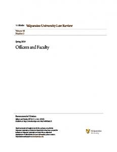 Officers and Faculty. Valparaiso University Law Review. Volume 48 Number 3. Spring Recommended Citation