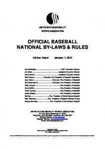 OFFICIAL BASEBALL NATIONAL BY-LAWS & RULES