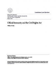 Official Immunity and the Civil Rights Act