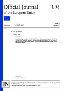 Official Journal L 56. of the European Union. Legislation. Non-legislative acts. Volume March English edition. Contents REGULATIONS