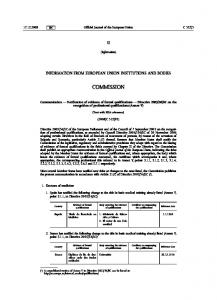 Official Journal of the European Union. (Information) COMMISSION