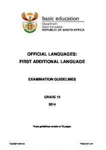 OFFICIAL LANGUAGES: FIRST ADDITIONAL LANGUAGE