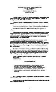 OFFICIAL MINUTES OF THE CITY COUNCIL CITY OF THIBODAUX CITY HALL THIBODAUX, LOUISIANA AUGUST 21, 2007