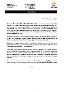 Official Notice. Madrid, September 12, 2016