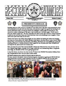 OFFICIAL PUBLICATION OF THE NYC HOUSING POLICE SILVER & GOLD LODGE # 997  PRESIDENT S MESSAGE