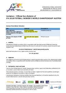Official Zero Bulletin of IFA 2018 FISTBALL WOMEN S WORLD CHAMPIONSHIP AUSTRIA