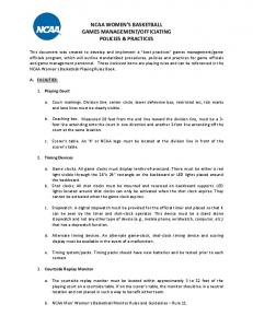 OFFICIATING POLICIES & PRACTICES