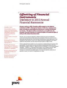 Offsetting of Financial Instruments Disclosure in 2013 Annual Financial Statements