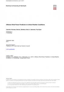 Offshore Wind Power Prediction in Critical Weather Conditions