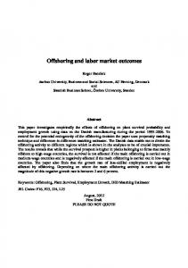 Offshoring and labor market outcomes
