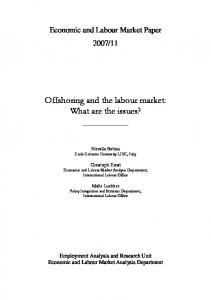 Offshoring and the labour market: What are the issues?