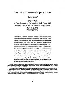 Offshoring: Threats and Opportunities