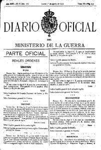 OFICIAL DIARIO MINISTERIO DE LA GUERRA PARTE OFICIAL. .SUbsecretorla. DEL REALES ORDENES *