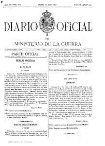 OFICIAL DIARIO ...- MINISTERIO DE LA GUERRA REALES ORDENES ASCENSOS CONTABILIDAD ASUNTOS INDETERMINADOS DEL. Ministerio de Defensa